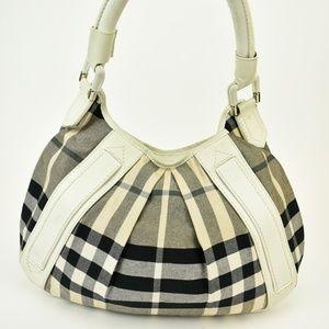 "BURBERRY White Leather & ""Nova Check"" Shoulder Bag"